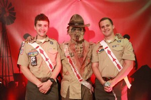 2013 National Chief Matt Brown (R) and 2013 Northeast Region Chief Tyler Allen (L) share a photo op with our Zombie Arrowman!