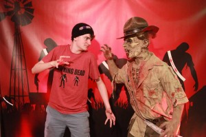 A Coosa Lodge member comes face-to-face with our Zombie Arrowman!